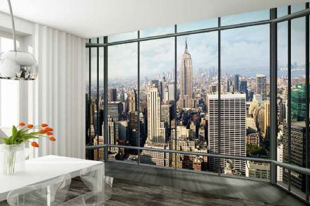 a New York City view wall mural wallpaper